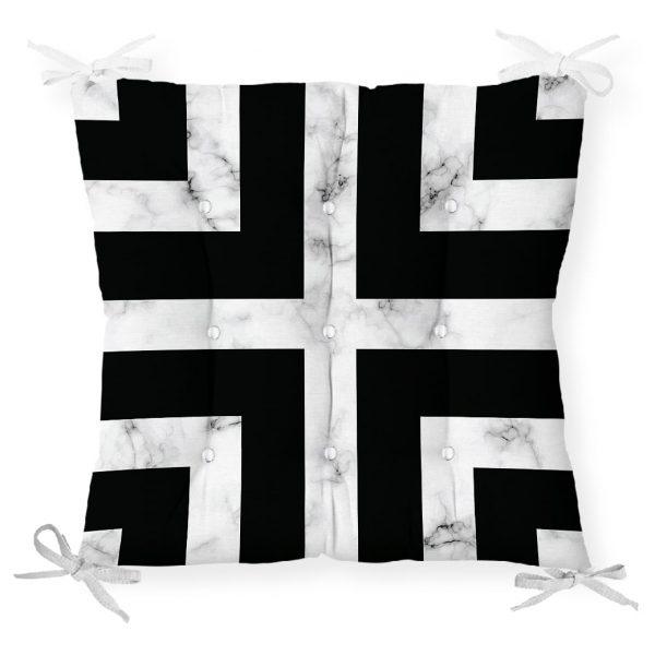 Mermer Zeminli Siyah Geometrik Desenli Modern Pofidik Sandalye Minderi Realhomes