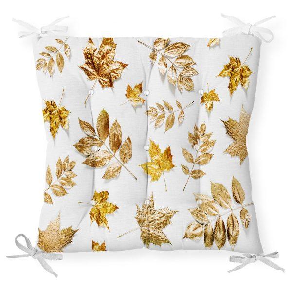 Beyaz Zeminde Altın Yapraklar Desenli Dijital Baskılı Pofidik Sandalye Minderi Realhomes