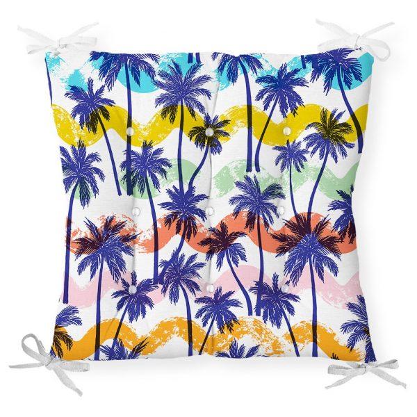 Renkli Palmiyeler Özel Tasarım Dekoratif Pofidik Sandalye Minderi Realhomes