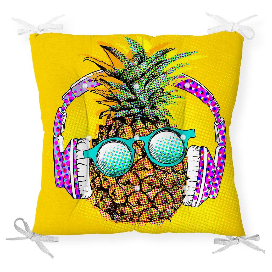 Summer Ananas Tasarımlı Dekoratif Pofidik Sandalye Minderi Realhomes
