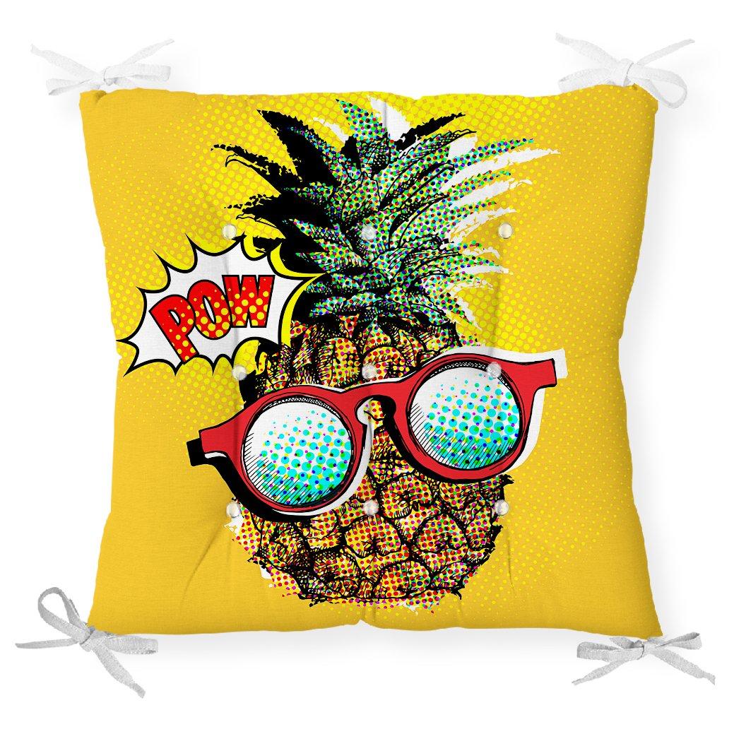 Pop Art Temalı Ananas Özel Tasarım Pofidik Sandalye Minderi Realhomes