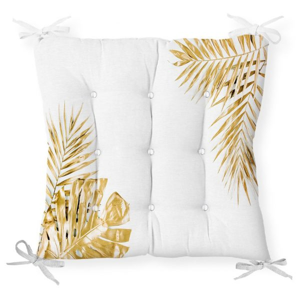 3D Altın Renkte Yapraklar Temalı Modern Pofidik Sandalye Minderi Realhomes