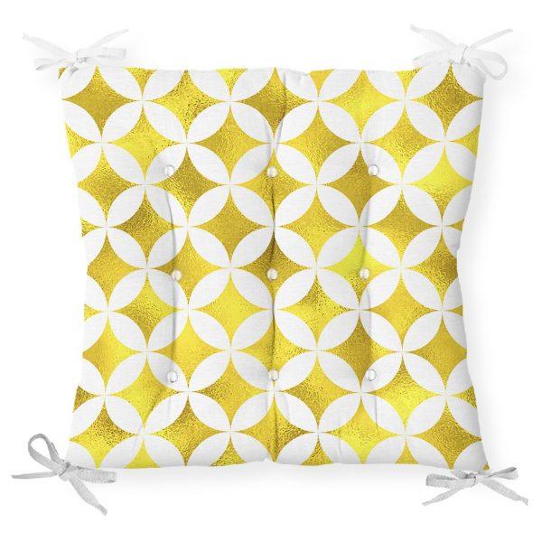 Geometrik Altın Renkte Desenler Modern Pofidik Sandalye Minderi Realhomes