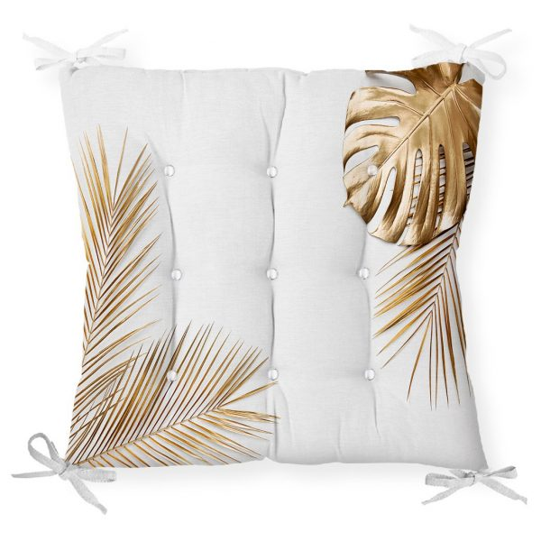 Altın Renkli 3D Palmiye Yaprakları Modern Pofidik Sandalye Minderi Realhomes