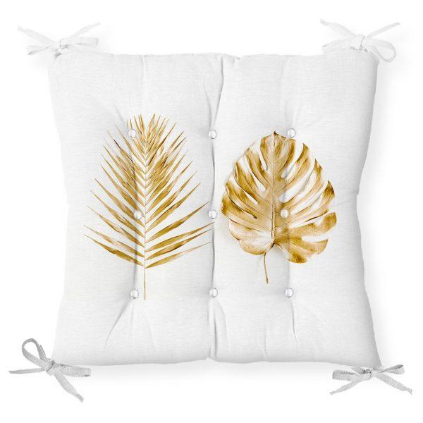 3D Altın Görünümlü Palmiye Yaprakları Modern Pofidik Sandalye Minderi Realhomes