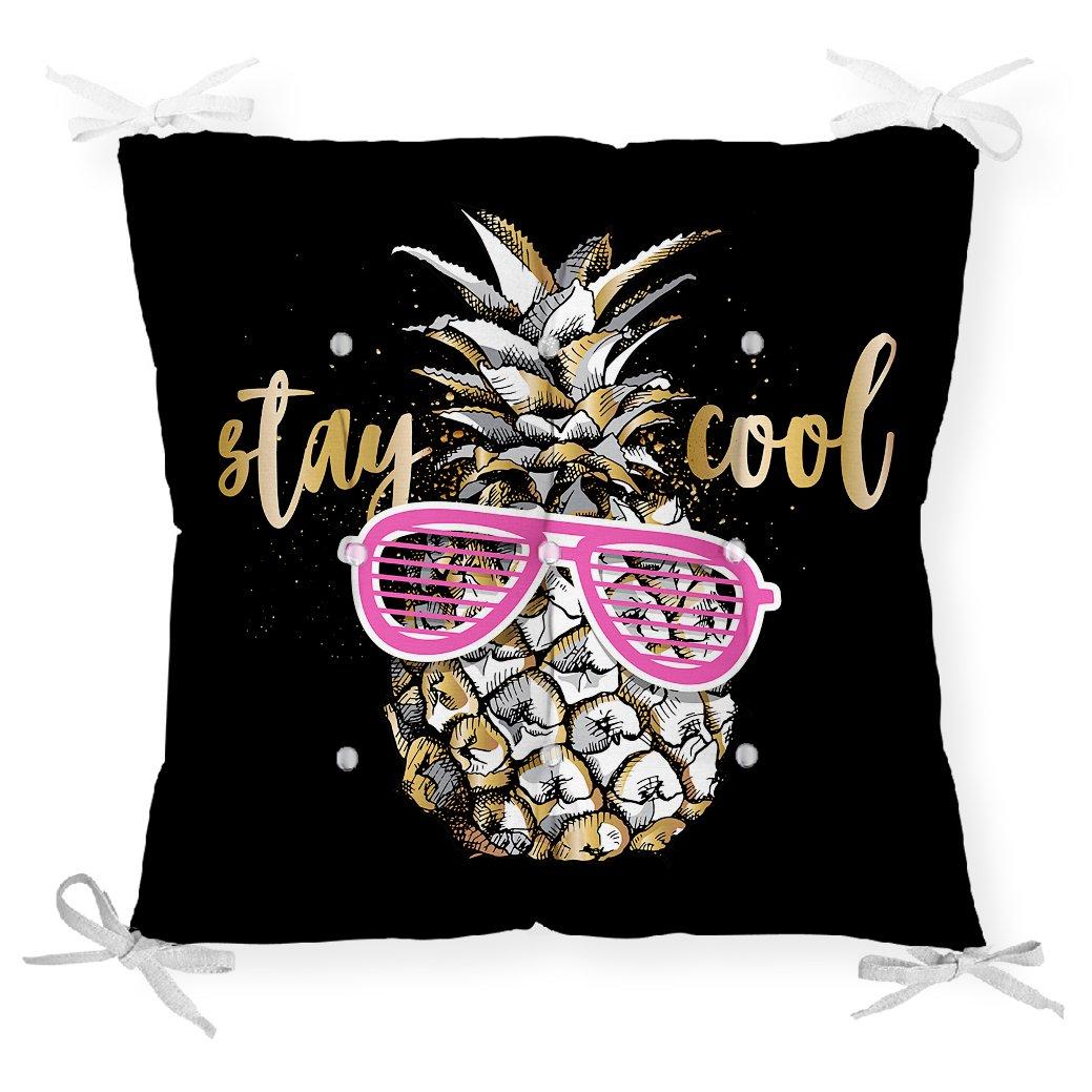 Siyah Zeminde Cool Ananas Desenli Modern Pofidik Sandalye Minderi Realhomes