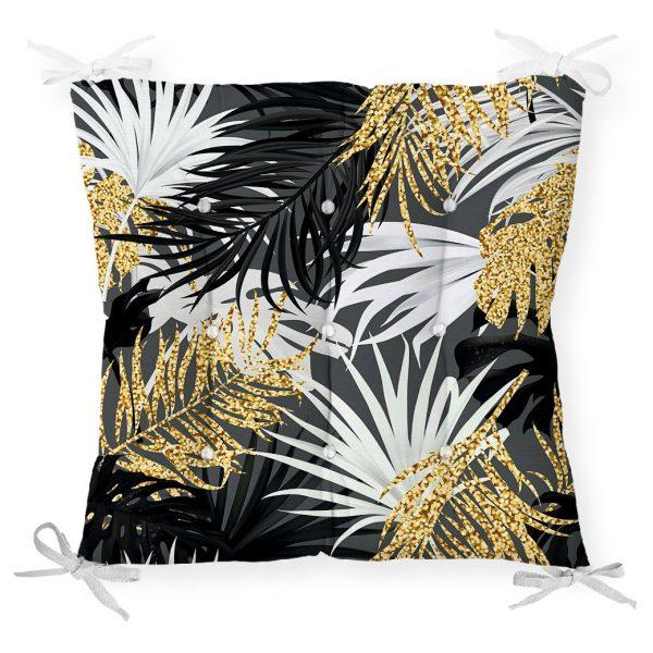 Siyah Zeminde Palmiye Yaprakları Özel Tasarım Pofidik Sandalye Minderi Realhomes