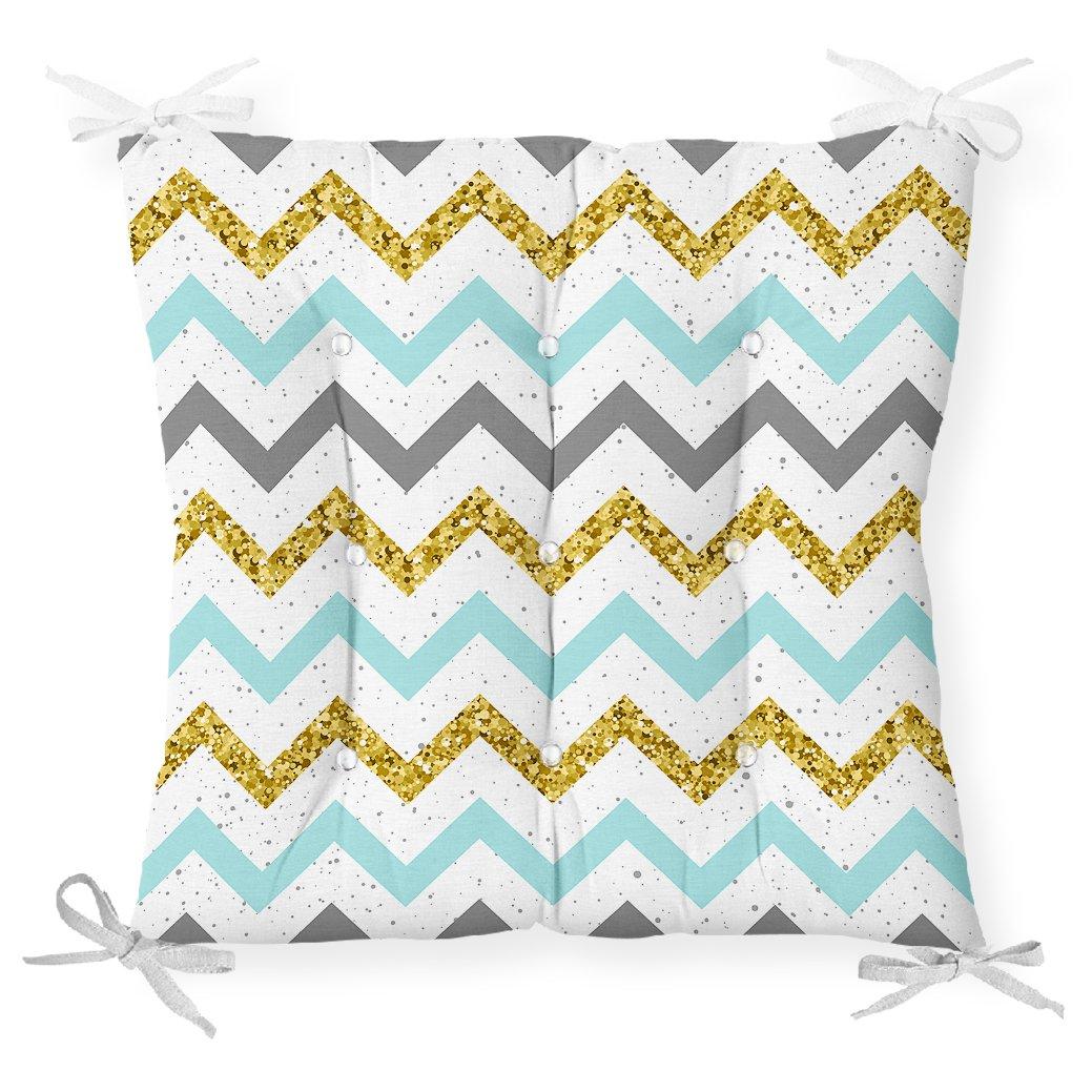 Mavi Gri Gold Zigzag Desenli Özel Tasarımlı Pofidik Sandalye Minderi Realhomes