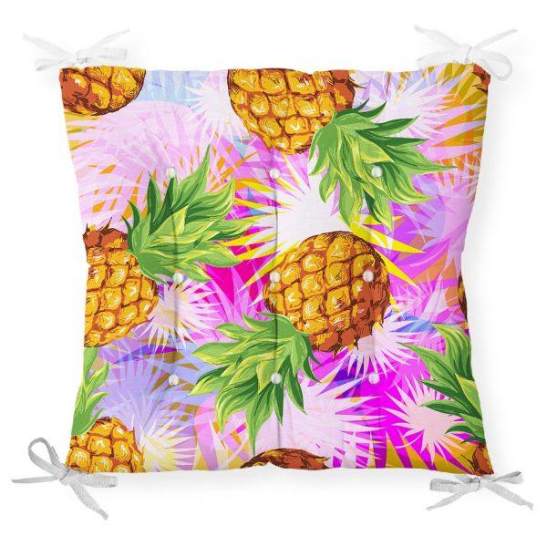 Pembe Zeminde Ananaslar Özel Tasarımlı Modern Pofidik Sandalye Minderi Realhomes