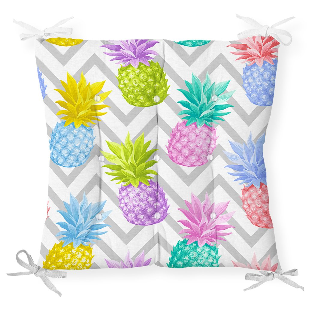 Gri Zigzag Desenli Ananaslar Modern Pofidik Sandalye Minderi Realhomes