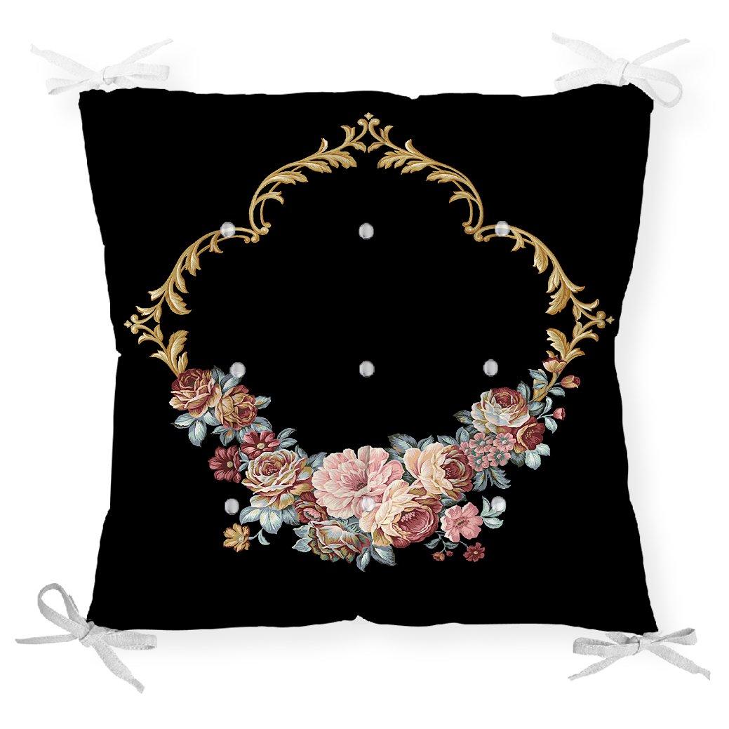 Siyah Zeminde Otantik Çiçekler Özel Tasarım Pofidik Sandalye Minderi Realhomes