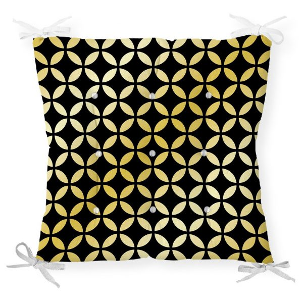 Siyah Zeminde Gold Geometrik Desenli Dekoratif Pofidik Sandalye Minderi Realhomes