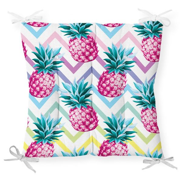 Renkli Zigzag Desenli Ananaslar Modern Tasarımlı Pofidik Sandalye Minderi Realhomes