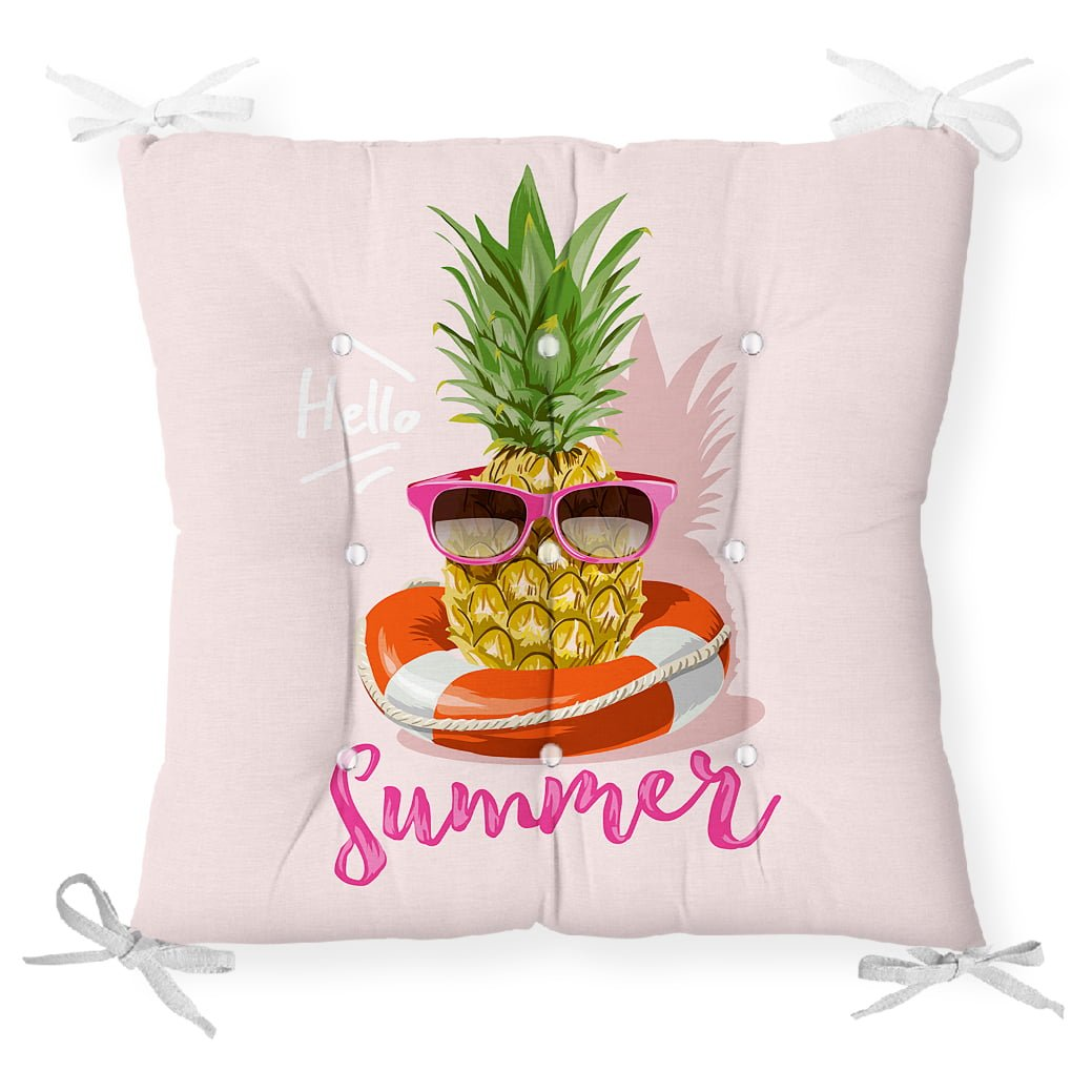 Pembe Zeminli Summer Ananas Desenli Pofidik Sandalye Minderi Realhomes