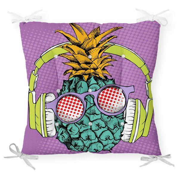 Mor Zeminde Tropikal Ananas Desenli Dijital Baskılı Pofidik Sandalye Minderi Realhomes