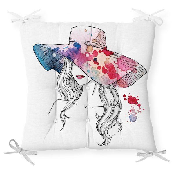 Renkli Şapka Tasarımlı Dijital Baskılı Dekoratif Pofidik Sandalye Minderi Realhomes