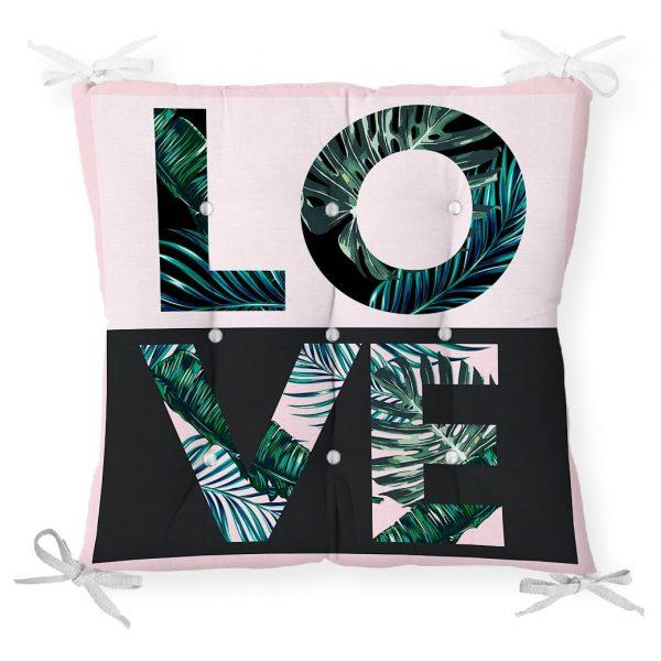 Love Yaprak Detaylı Özel Tasarım Pofidik Sandalye Minderi Realhomes