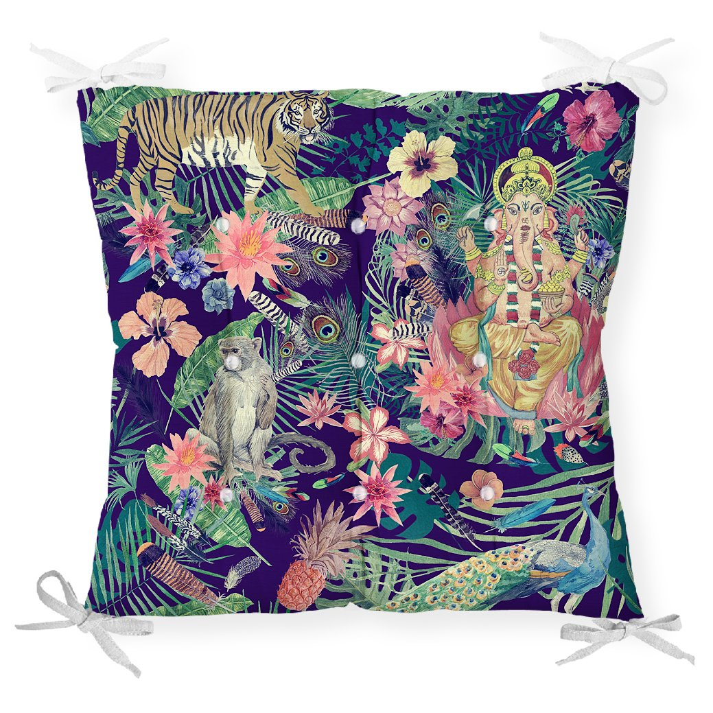 Lacivert Zeminli Amazon Ormanları Temalı Modern Pofidik Sandalye Minderi Realhomes