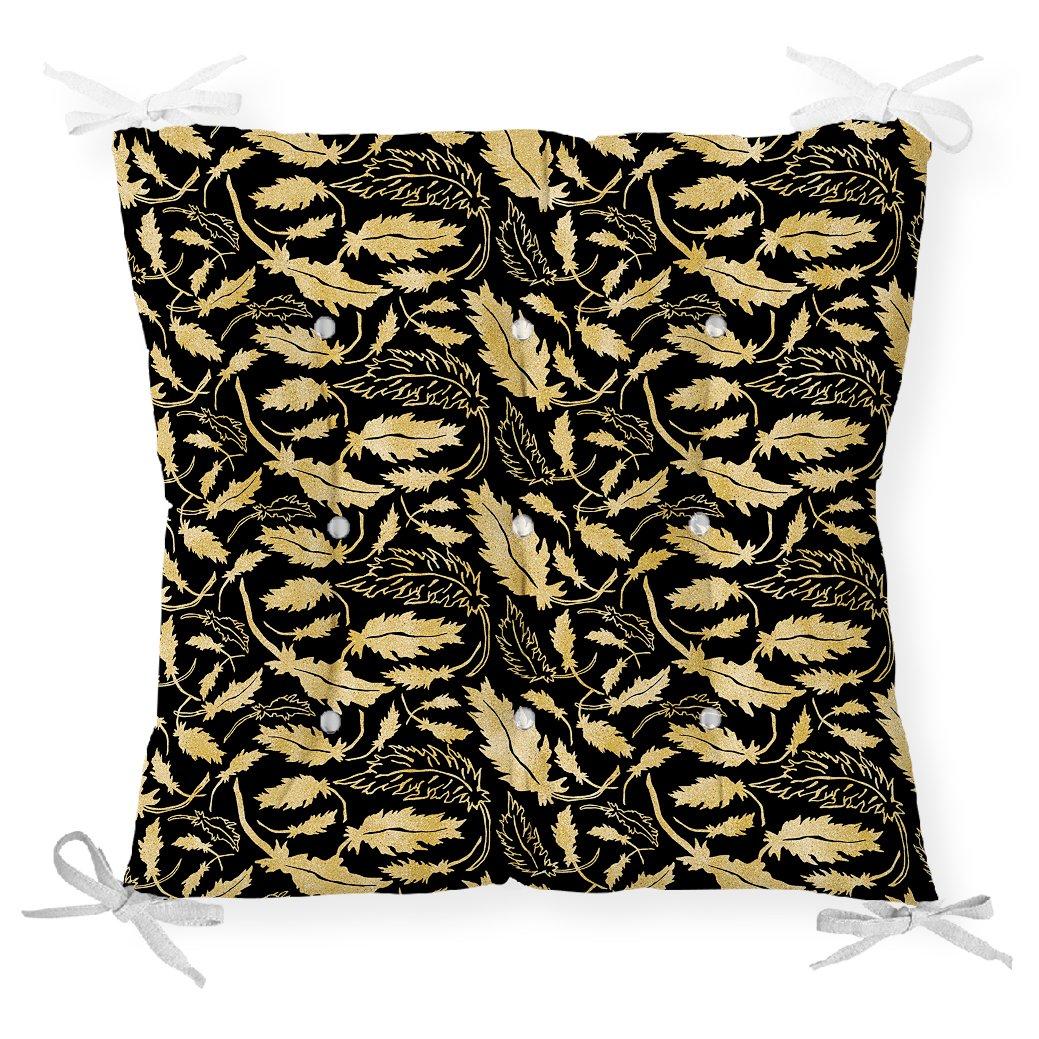 Siyah Zeminli Altın Yapraklar Motifli Dekoratif Pofidik Sandalye Minderi Realhomes
