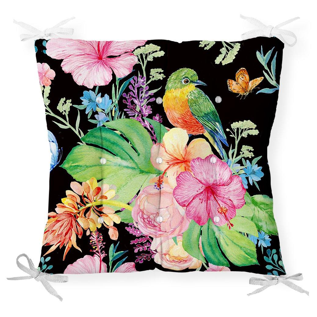 Watercolor Çiçek ve Kuş Motifli Özel Tasarım Pofidik Sandalye Minderi Realhomes