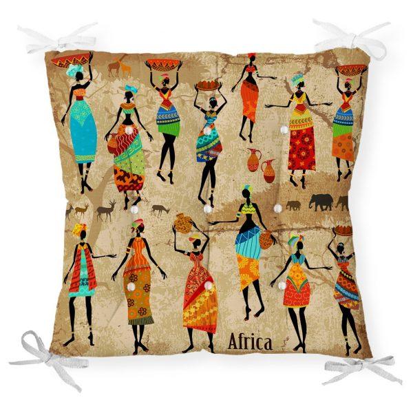 RealHomes Afrika Etnik Desenli Dijital Baskılı Modern Pofidik Sandalye Minderi Realhomes