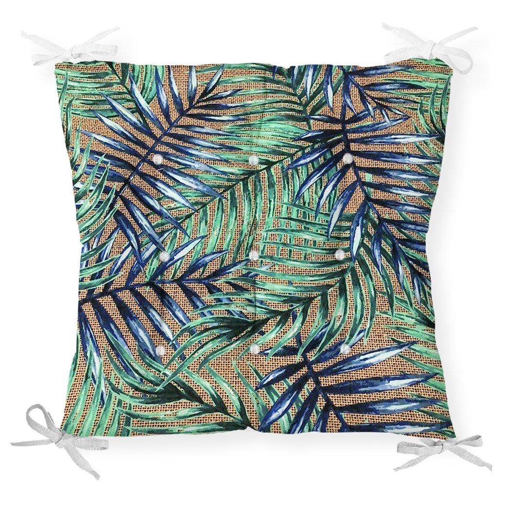 Çuval Zeminde Renkli Yapraklar Desenli Dekoratif Pofidik Sandalye Minderi Realhomes