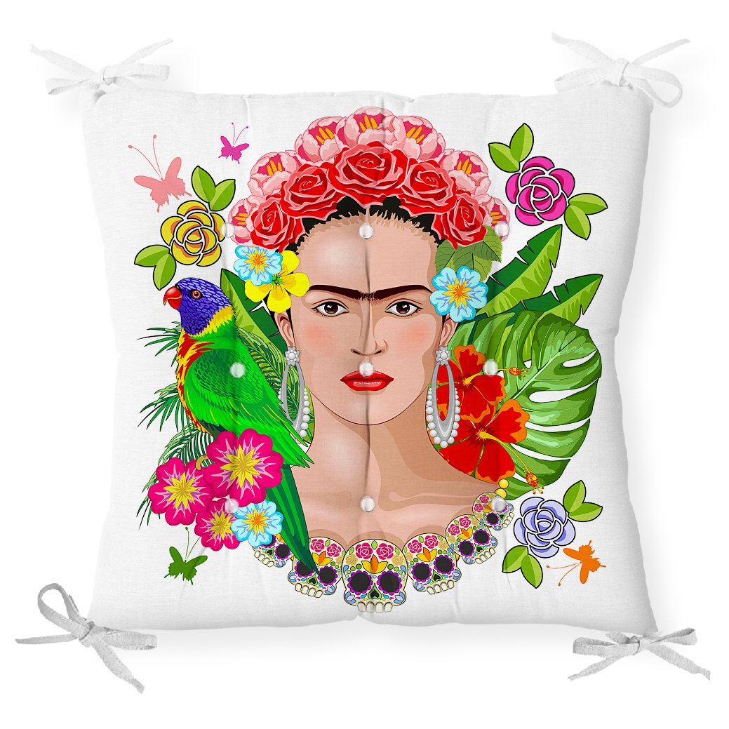 Özel Tasarım Frida Kahlo Tasarımlı Dekoratif Pofidik Sandalye Minderi Realhomes