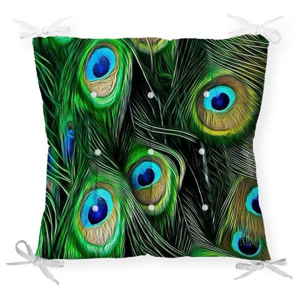 Koyu Zeminde Renkli Tüyler Özel Tasarımlı Dekoratif Pofidik Sandalye Minderi Realhomes