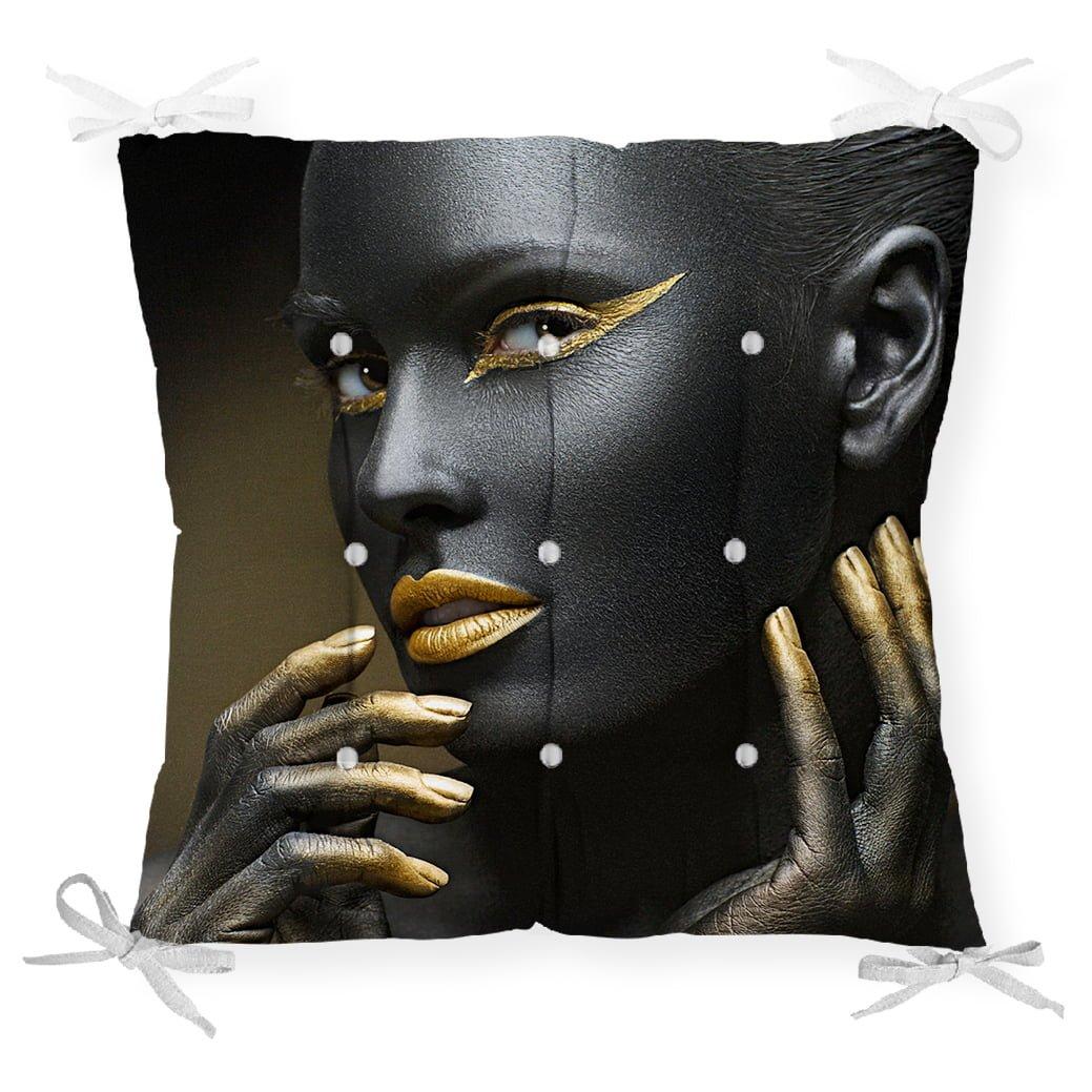 African Gold Kadın Özel Tasarımlı Dekoratif Pofidik Sandalye Minderi Realhomes