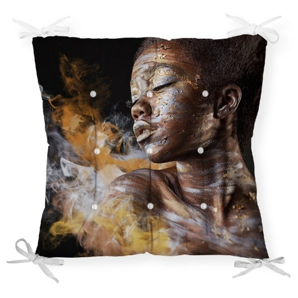 African Woman Etnik Desenli Dijital Baskılı Pofidik Sandalye Minderi Realhomes