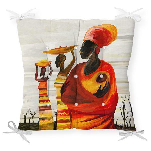 Afrikan Yağlı Boya Çizimli 3D Dekoratif Pofidik Sandalye Minderi Realhomes