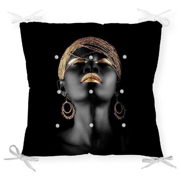 Siyahi Kadın Özel Tasarımlı Modern Dekoratif Pofidik Sandalye Minderi Realhomes