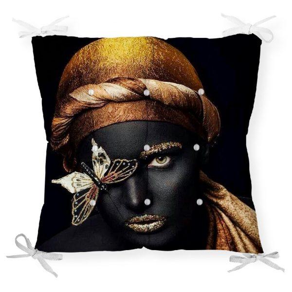 Gold Siyahı Kadın Özel Tasarımlı dekoratif Pofidik Sandalye Minderi Realhomes