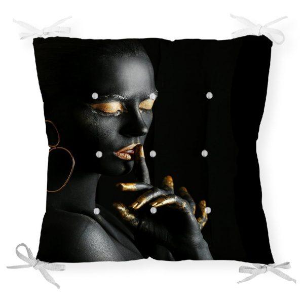 Siyahı Kadın Motifli Özel Tasarım Pofidik Sandalye Minderi Realhomes
