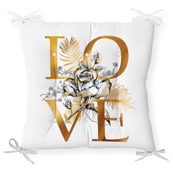 Altın Varaklı Love Tasarımlı Modern Dekoratif Pofidik Sandalye Minderi Realhomes