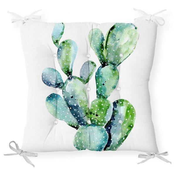 Mavi Renkli Palmiye Yaprakları Dijital Baskılı Pofidik Sandalye Minderi Realhomes