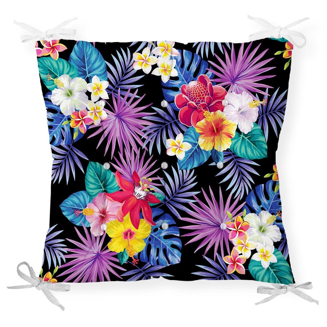 Siyah Zeminde Renkli Çiçekler Tasarımlı Dekoratif Pofidik Sandalye Minderi Realhomes