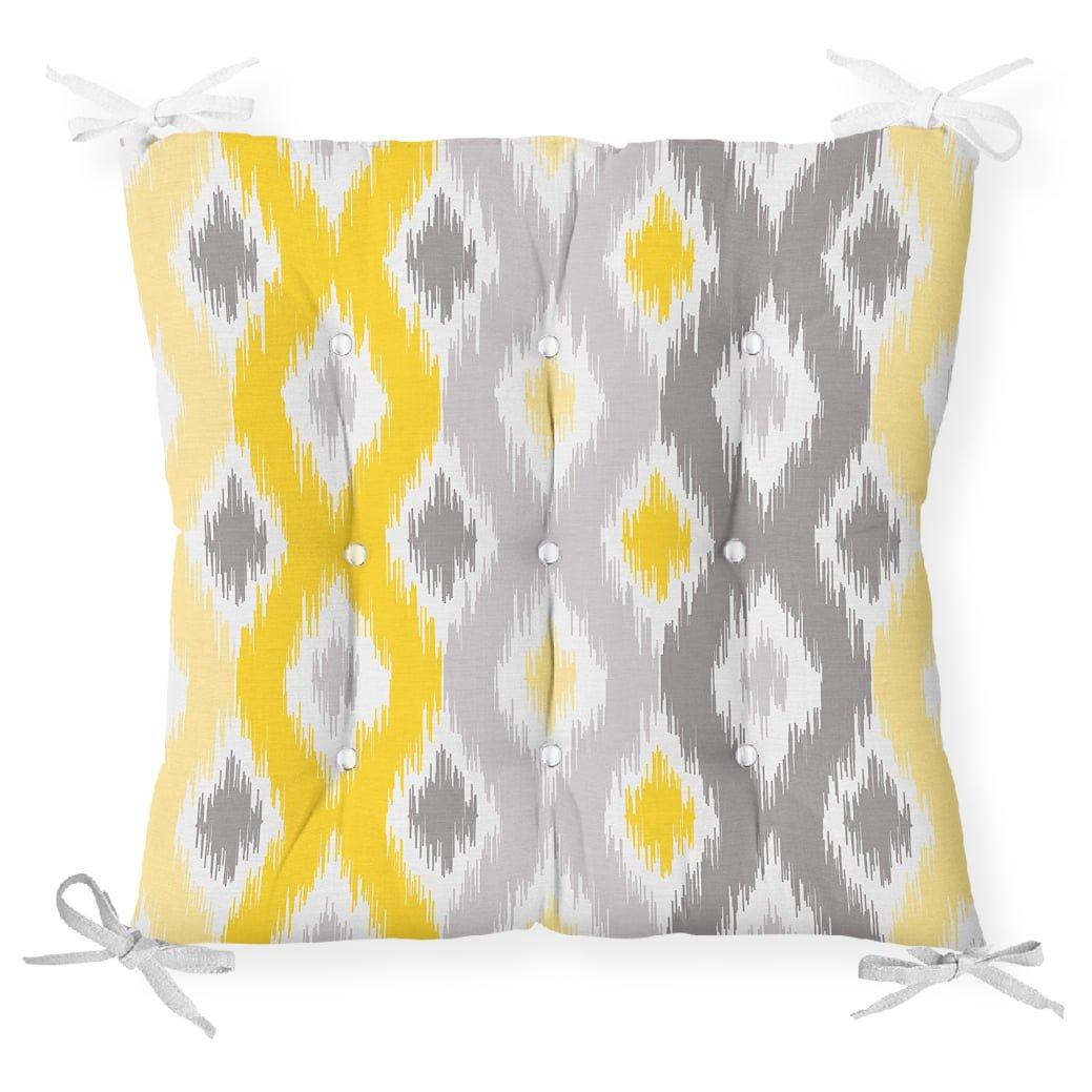 Sarı Gri Zigzag Desenli Modern Tasarımlı Dekoratif Pofidik Sandalye Minderi Realhomes