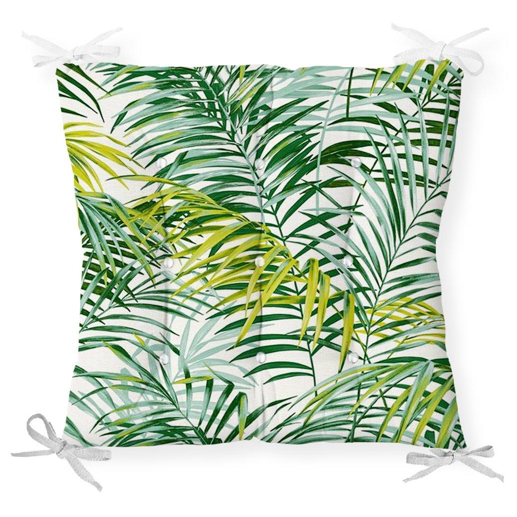 Yeşil Palmiye Yaprakları Özel Tasarımlı Dekoratif Pofidik Sandalye Minderi Realhomes