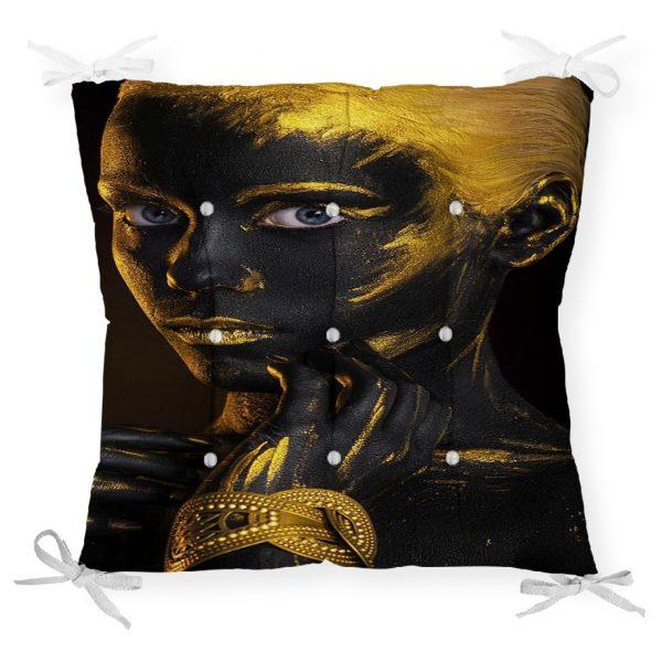 Afrika Gold İnsan Figürlü Modern Dekoratif Pofidik Sandalye Minderi Realhomes