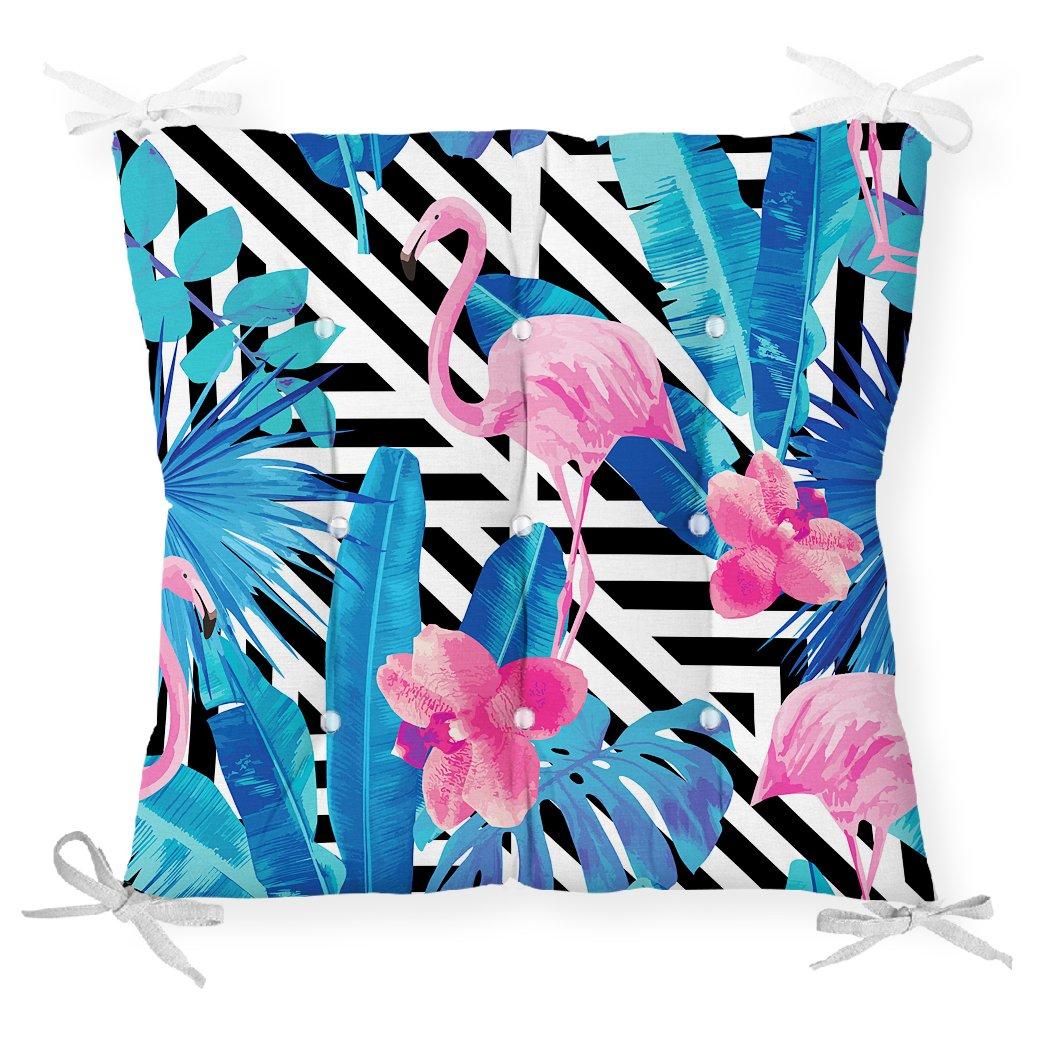 Geometrik Mavi Pempe Flamingo Tasarımlı Dijital Baskılı Pofidik Sandalye Minderi Realhomes