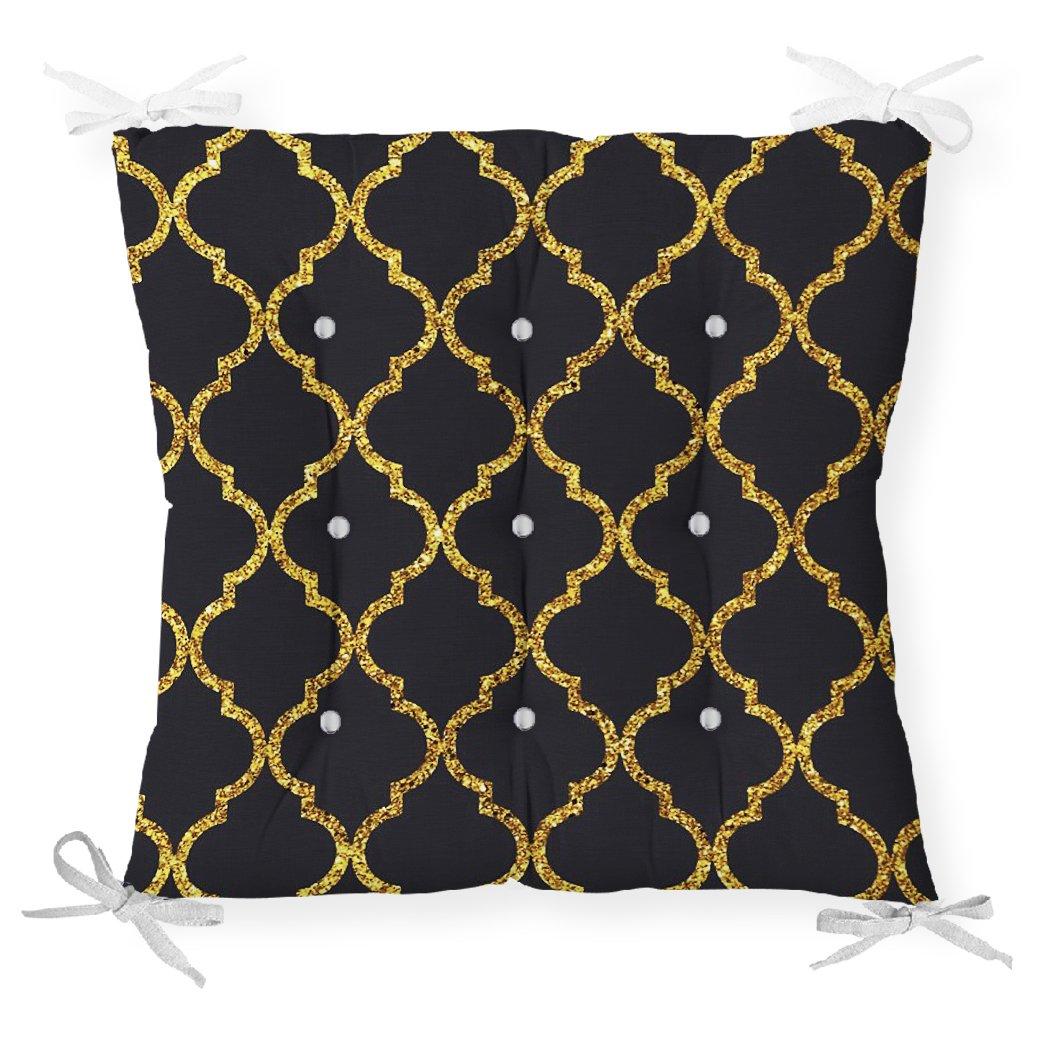 Gold Detaylı Ogea Desenli Dekoratif Modern Pofidik Sandalye Minderi Realhomes