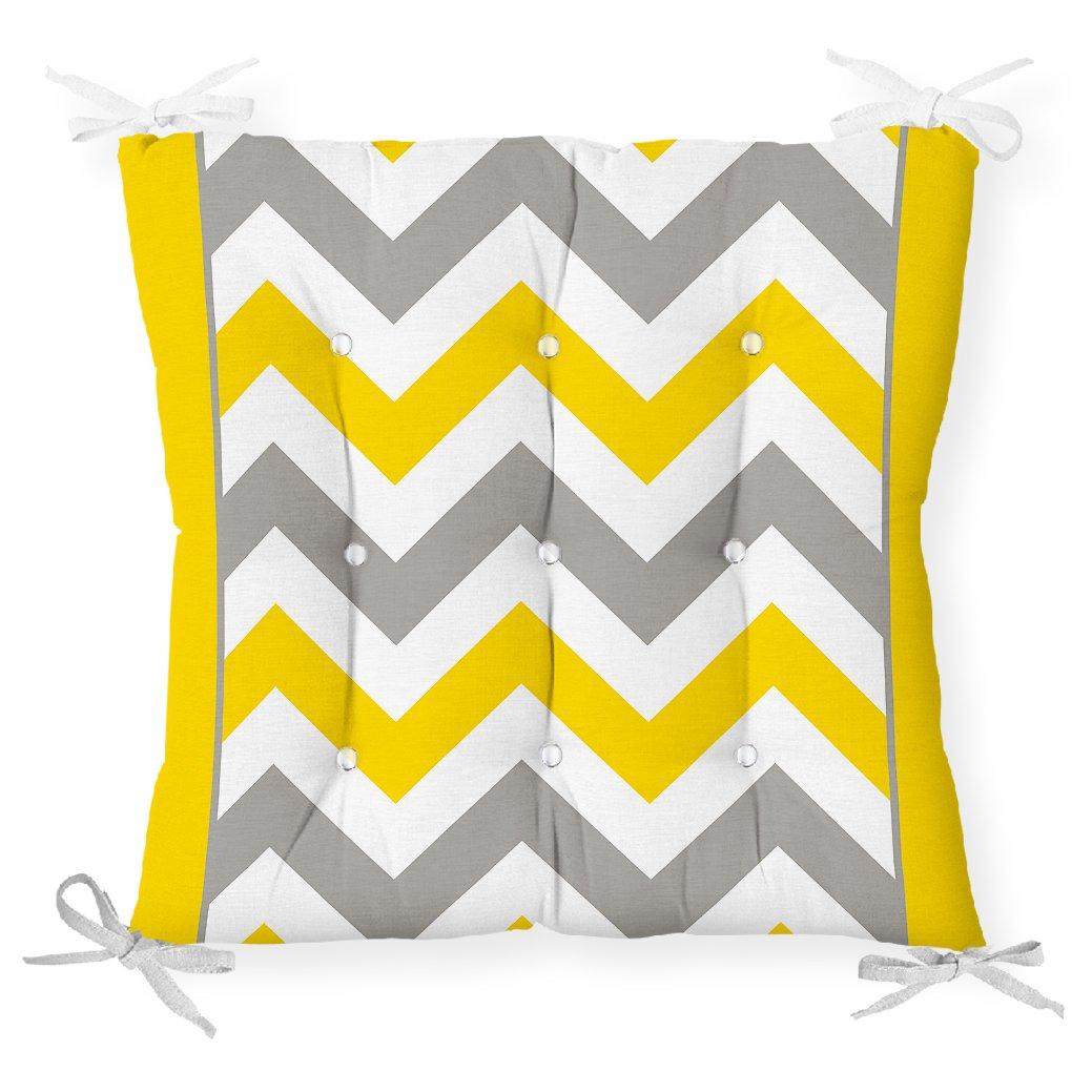 Sarı Gri Zigzag Desenli Dijital Baskılı Pofidik Sandalye Minderi Realhomes