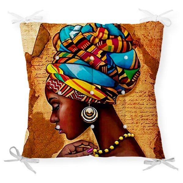 African Woman Çizimli Dijital Baskılı Modern Pofidik Sandalye Minderi Realhomes