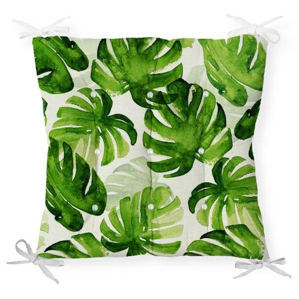 Suluboya Zambak Yaprakları Çizimli Özel Tasarım Pofidik Sandalye Minderi Realhomes