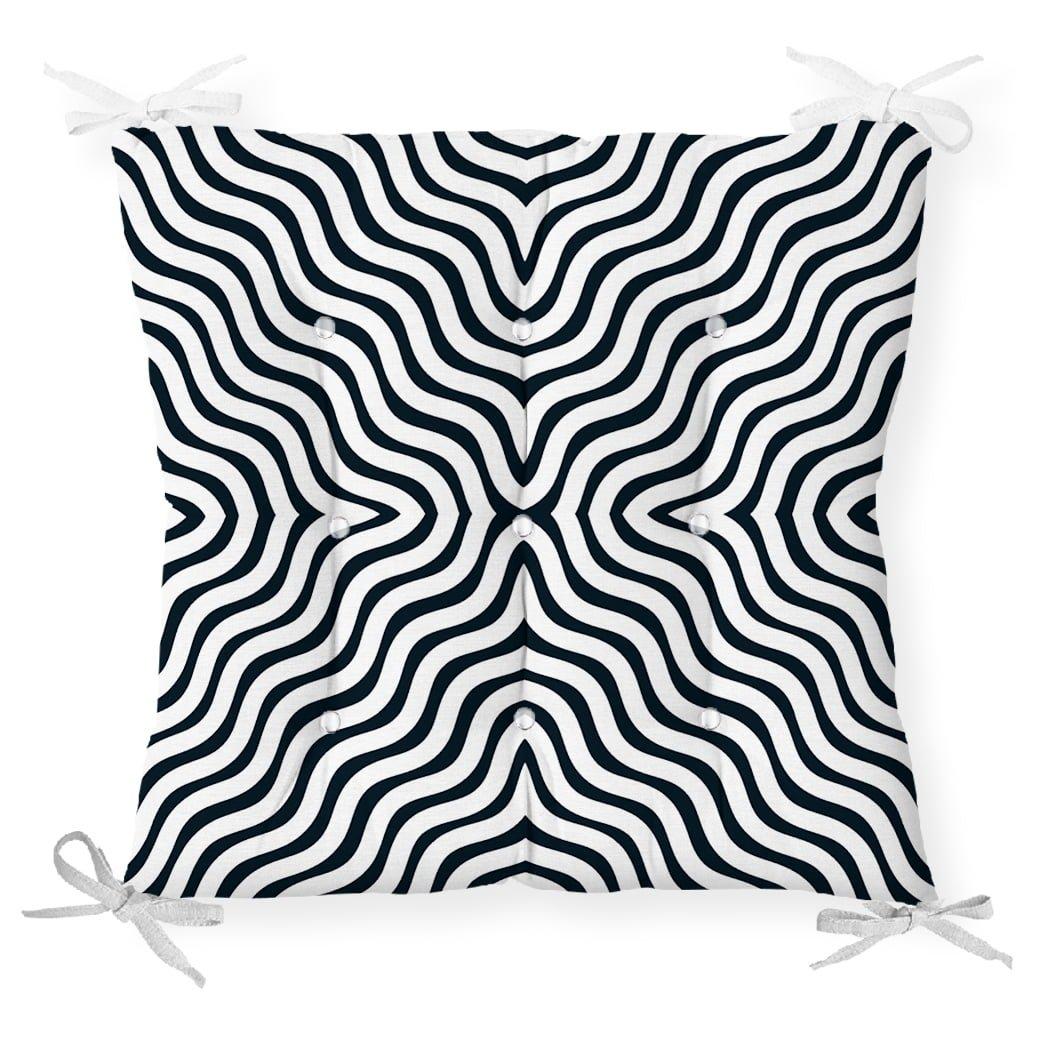 Siyah Geometrik Çizgiler Özel Tasarımlı Dekoratif Pofidik Sandalye Minderi Realhomes