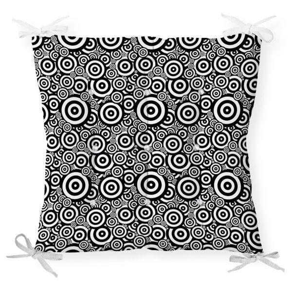 Siyah Beyaz Geometrik Yuvarlak Tasarımlı Modern Pofidik Sandalye Minderi Realhomes