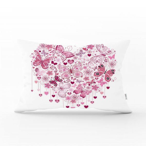 Kalp Desenli Dijital Baskılı Dekoratif Dikdörtgen Yastık Kırlent Kılıfı Realhomes