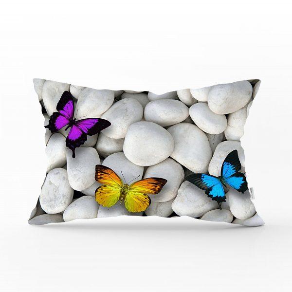 Kelebek Desenli Dijital Baskılı Dekoratif Dikdörtgen Yastık Kırlent Kılıfı Realhomes