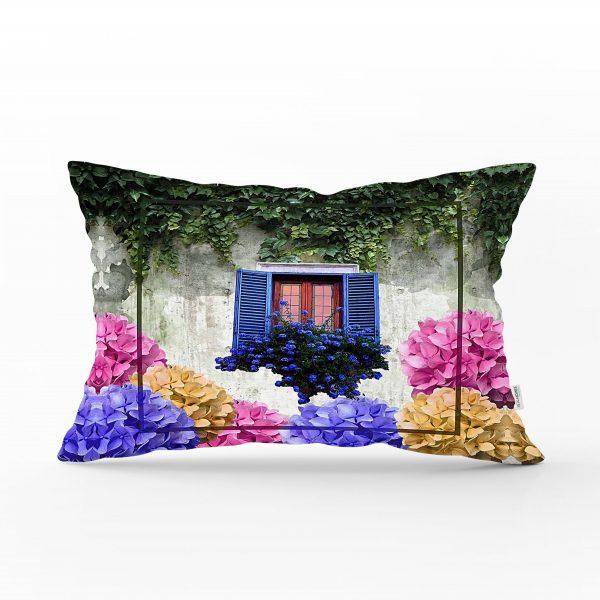 Çiçek Penceresi Dijital Baskılı Modern Dikdörtgen Yastık Kırlent Kılıfı Realhomes